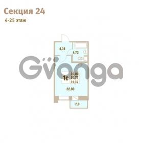 Продается квартира 1-ком 31.37 м² Областная улица 1, метро Улица Дыбенко