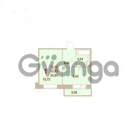 Продается квартира 1-ком 34.84 м² Областная улица 1, метро Улица Дыбенко