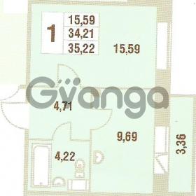 Продается квартира 1-ком 35.22 м² Областная улица 1, метро Улица Дыбенко