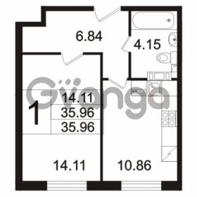 Продается квартира 1-ком 35.96 м² Берёзовая улица 1, метро Проспект Просвещения