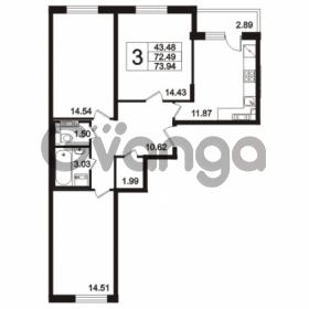 Продается квартира 3-ком 73.94 м² Берёзовая улица 1, метро Проспект Просвещения
