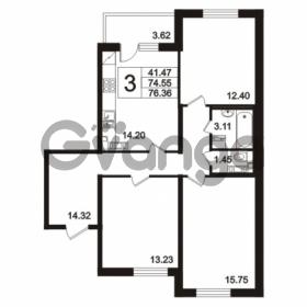 Продается квартира 3-ком 76.36 м² Берёзовая улица 1, метро Проспект Просвещения