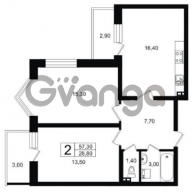 Продается квартира 2-ком 60.25 м² Выборгское шоссе 1, метро Пропект Просвещения