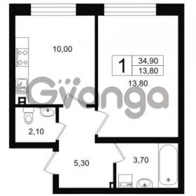 Продается квартира 1-ком 34.9 м² Выборгское шоссе 1, метро Пропект Просвещения