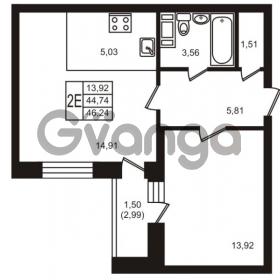 Продается квартира 1-ком 44 м² улица Кирова 11, метро Улица Дыбенко