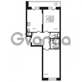 Продается квартира 2-ком 55 м² улица Кирова 11, метро Улица Дыбенко