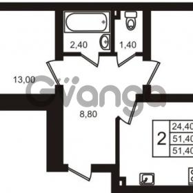 Продается квартира 2-ком 51.4 м² Выборгское шоссе 1, метро Пропект Просвещения
