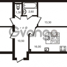 Продается квартира 3-ком 71 м² Выборгское шоссе 1, метро Пропект Просвещения