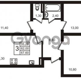 Продается квартира 3-ком 67.6 м² Выборгское шоссе 1, метро Пропект Просвещения