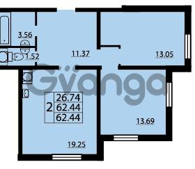 Продается квартира 2-ком 62 м² проспект Маршала Блюхера 12Б, метро Лесная
