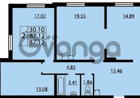 Продается квартира 2-ком 87 м² проспект Маршала Блюхера 12Б, метро Лесная