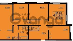 Продается квартира 4-ком 116 м² проспект Маршала Блюхера 12Б, метро Лесная