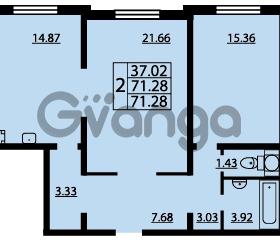 Продается квартира 2-ком 71 м² проспект Маршала Блюхера 12Б, метро Лесная