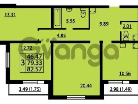 Продается квартира 3-ком 82 м² проспект Маршала Блюхера 12Б, метро Лесная