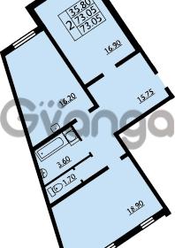 Продается квартира 2-ком 73 м² проспект Маршала Блюхера 12Б, метро Лесная