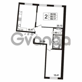 Продается квартира 2-ком 69.17 м² Берёзовая улица 1, метро Проспект Просвещения