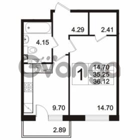 Продается квартира 1-ком 36.12 м² Берёзовая улица 1, метро Проспект Просвещения