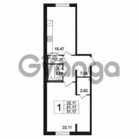 Продается квартира 1-ком 51.17 м² Берёзовая улица 1, метро Проспект Просвещения