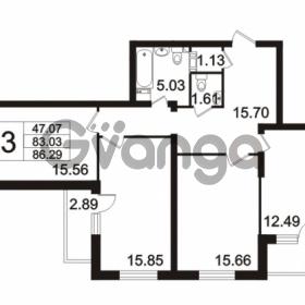 Продается квартира 3-ком 86.29 м² Берёзовая улица 1, метро Проспект Просвещения