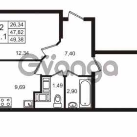 Продается квартира 2-ком 49 м² Воронцовский бульвар 1, метро Девяткино