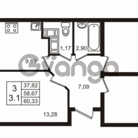 Продается квартира 3-ком 60 м² Воронцовский бульвар 1, метро Девяткино