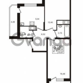 Продается квартира 2-ком 53 м² Воронцовский бульвар 1, метро Девяткино