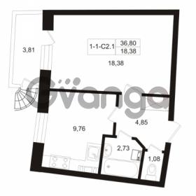 Продается квартира 1-ком 36.8 м² Пугаревская улица 1, метро Ладожская