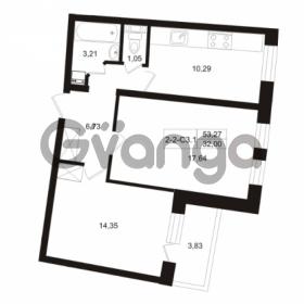 Продается квартира 2-ком 53.27 м² Пугаревская улица 1, метро Ладожская