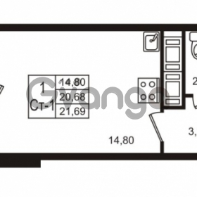 Продается квартира 1-ком 21 м² Воронцовский бульвар 1, метро Девяткино