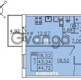 Продается квартира 1-ком 44.72 м² Ленинградское шоссе 11, метро Проспект Ветеранов
