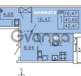 Продается квартира 1-ком 42.41 м² Ленинградское шоссе 11, метро Проспект Ветеранов