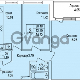 Продается квартира 2-ком 54 м² Понтонная улица 29, метро Рыбацкое