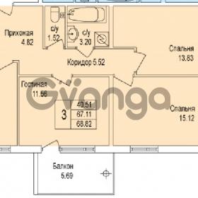 Продается квартира 3-ком 68 м² Понтонная улица 29, метро Рыбацкое