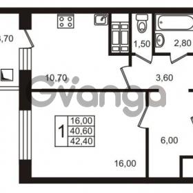 Продается квартира 1-ком 42.4 м² проспект Авиаторов Балтики 1, метро Девяткино