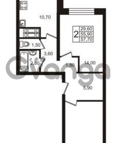 Продается квартира 2-ком 57.7 м² проспект Авиаторов Балтики 1, метро Девяткино
