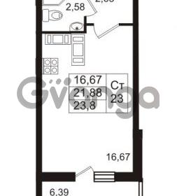 Продается квартира 1-ком 23.8 м² проспект Авиаторов Балтики 2, метро Девяткино