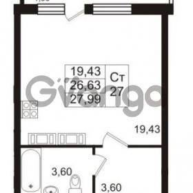 Продается квартира 1-ком 27.99 м² проспект Авиаторов Балтики 2, метро Девяткино