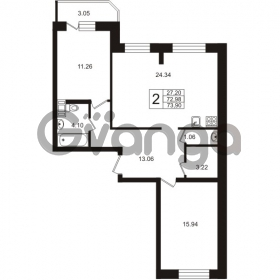 Продается квартира 2-ком 73.9 м² Арсенальная улица 2, метро Девяткино