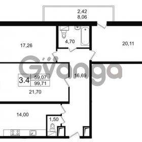 Продается квартира 3-ком 100 м² Парковая 44, метро Московская