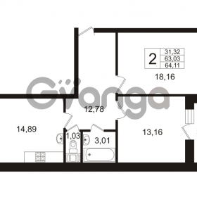 Продается квартира 2-ком 64.11 м² Арсенальная улица 7, метро Девяткино