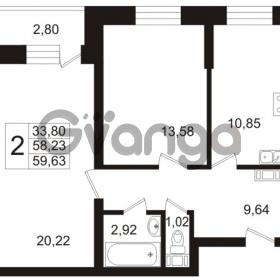 Продается квартира 2-ком 59.63 м² Арсенальная улица 7, метро Девяткино