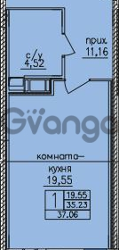 Продается квартира 1-ком 36 м² улица Шкапина 36, метро Балтийская
