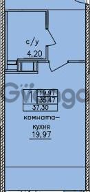 Продается квартира 1-ком 37 м² улица Шкапина 36, метро Балтийская