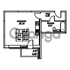 Продается квартира 1-ком 37.92 м² Юнтоловский проспект 53к 4, метро Старая деревня