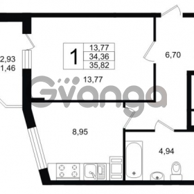 Продается квартира 1-ком 38.05 м² Юнтоловский проспект 53к 4, метро Старая деревня