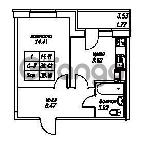 Продается квартира 1-ком 38.19 м² Юнтоловский проспект 53к 4, метро Старая деревня