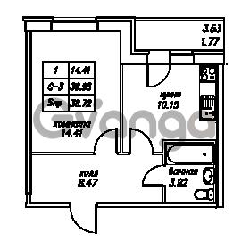 Продается квартира 1-ком 38.72 м² Юнтоловский проспект 53к 4, метро Старая деревня