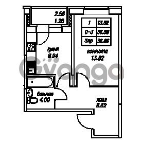Продается квартира 1-ком 36.86 м² Юнтоловский проспект 53к 4, метро Старая деревня