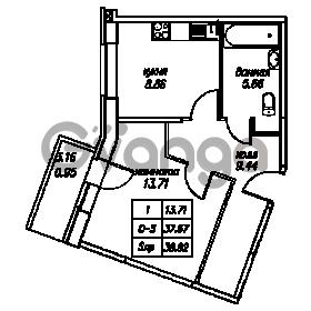 Продается квартира 1-ком 38.62 м² Юнтоловский проспект 53к 4, метро Старая деревня