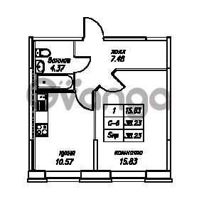 Продается квартира 1-ком 38.23 м² Юнтоловский проспект 53к 4, метро Старая деревня